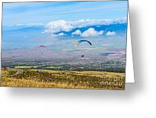 In Flight - Paragliders Taking Off High Over Maui. Greeting Card