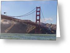 In Flight Over Golden Gate Greeting Card by Scott Campbell