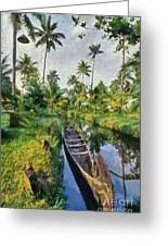 In The Backwaters Of Kerala Greeting Card