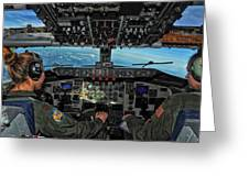 In The Cockpit Of A Kc-135 Stratotanker  Greeting Card