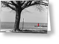 In The Distance South Haven Lighthouse Greeting Card