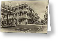 In The French Quarter Sepia Greeting Card