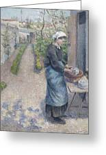 In The Garden At Pontoise A Young Woman Greeting Card
