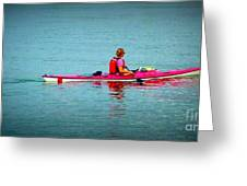 In The Pink Kayaker Greeting Card