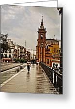 In The Rain - Puente De Triana Greeting Card