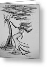 In The Wind She Dances Greeting Card