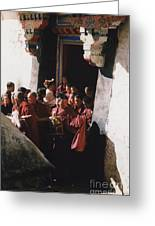 In Tibet Tibetan Monks 5 By Jrr Greeting Card