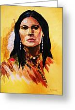Maiden In White Feather And Beads Greeting Card