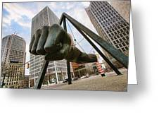 In Your Face -  Joe Louis Fist Statue - Detroit Michigan Greeting Card by Gordon Dean II