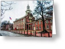 Independence Hall From Chestnut Street Greeting Card