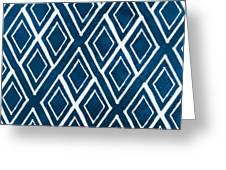Indgo And White Diamonds Large Greeting Card