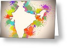 India Watercolor Map Painting Greeting Card