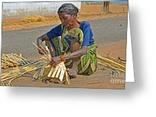 Indian Aged Woman Working Greeting Card