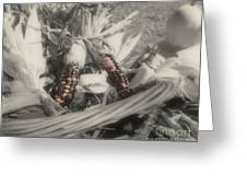 Indian Corn In Basket Partial Color Greeting Card