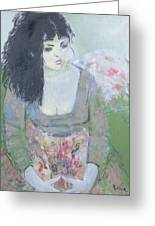 Indian Earring Dark-haired Girl In Green Oil On Canvas Greeting Card
