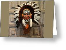 Indian Headdress In  Brown Greeting Card