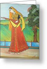 Indian Lady Playing Ancient Musical Instrument Greeting Card