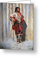 Indian Maid At Stockade By Charles Marion Russell Greeting Card