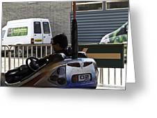 Indian Man Enjoying In A Bumper Cars Ride In An Entertainment Park Greeting Card