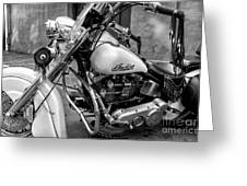 Indian Motorcycle In French Quarter-bw Greeting Card