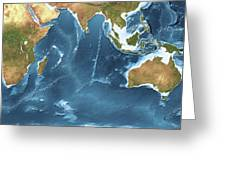 Indian Ocean Sea Floor Topography Greeting Card