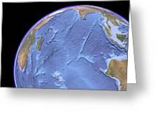 Indian Ocean, Sea Floor Topography Greeting Card