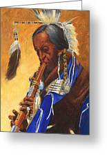 Indian Playing Flute Greeting Card