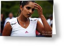 Indian Tennis Player Sania Mirza Greeting Card by Nishanth Gopinathan