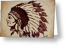 Indian Wise Chief Coffee Painting Greeting Card