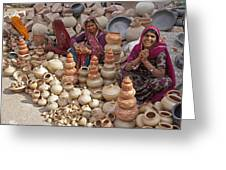 Indian Women Selling Pottery Greeting Card