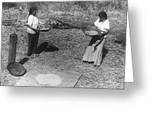 Indian Women Winnowing Wheat Greeting Card