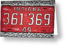 Indiana 1949 License Platee Greeting Card