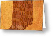 Indiana State Word Art On Canvas Greeting Card by Design Turnpike