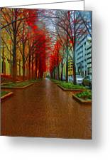 Indianapolis Autumn Trees Oil Greeting Card by David Haskett
