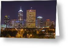 Indianapolis Night Skyline Echo Greeting Card