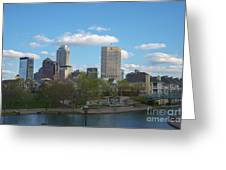 Indianapolis Skyline Blue 2 Greeting Card
