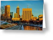 Indianapolis Skyline Dynamic Greeting Card by David Haskett