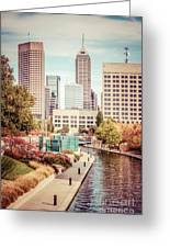 Indianapolis Skyline Old Retro Picture Greeting Card