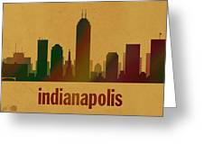 Indianapolis Skyline Watercolor On Parchment Greeting Card
