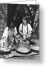Indians Using Mortar And Pestle Greeting Card
