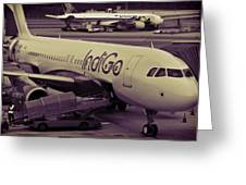 Indigo Aircraft Getting Ready In Changi Airport Greeting Card