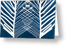 Indigo And White Leaves- Abstract Art Greeting Card