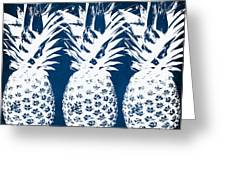 Indigo And White Pineapples Greeting Card