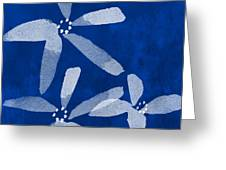 Indigo Flowers Greeting Card by Linda Woods