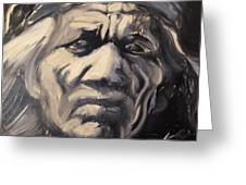 Indio Indian Black And White Oil Painting Greeting Card
