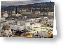 Industrial Area Along River Panorama Greeting Card