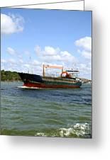 Industrial Cargo Ship Greeting Card