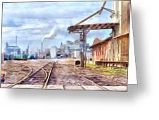 Industrial Railroad Scene  Greeting Card