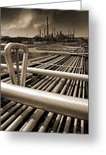 Industry Oil Gas And Fuel Greeting Card by Christian Lagereek