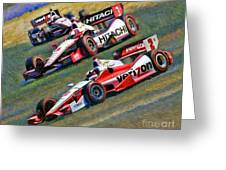 Indy Car's Penske Team Juan Montoya Helio Castroneves Will Power   Greeting Card